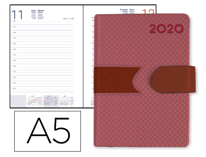 Agenda 2020 día página A5 Roja Lidhor