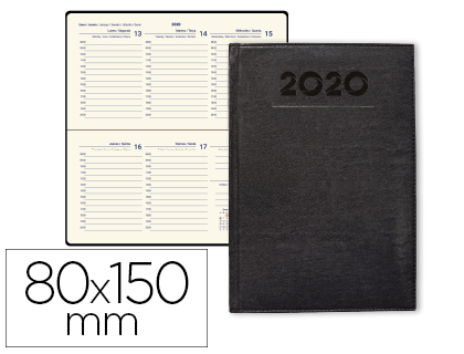 Agenda 2020 de bolsillo semana vista Creta Negra 8x15