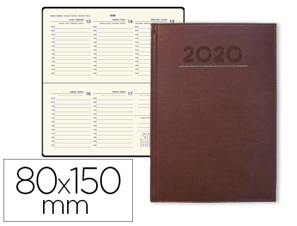 Agenda 2020 de bolsillo semana vista Creta burdeos 8x15