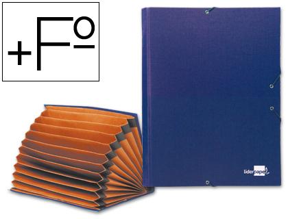 Carpeta clasificadora fuelle 12 departamentos azul Carpeta clasificadora fuelle 12 departamentos azul con cierre de gomas en cartón entrecolado de 1,75 mm de espesor, también está forrada con papel de encuadernación, además de plastificado y gofrado tela PVC en formato folio prolongado en color azul.