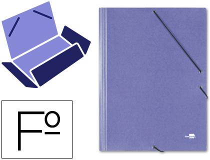 gomas folio 3 solapas carton simil prespan azul