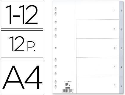 separadores numéricos de archivador plástico