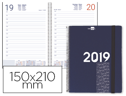 Agenda 2019 espiral día página A5 azul metalizado Olbia