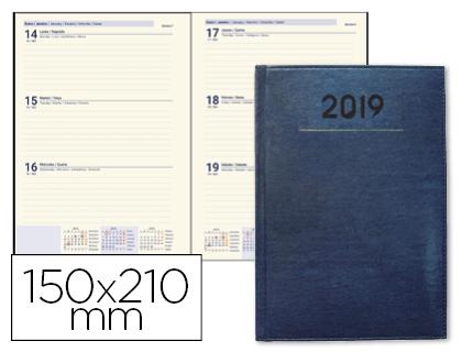 agenda 2019 semana vista a5 creta azul
