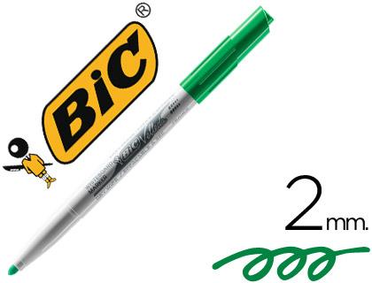 Rotulador Bic Velleda verde punta cónica