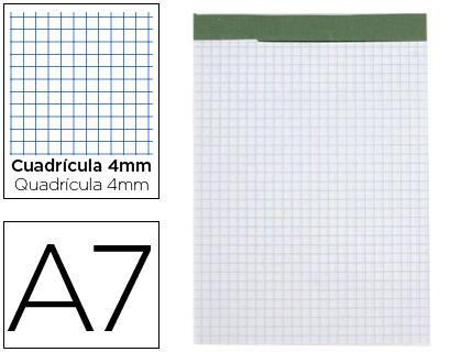 Bloc notas liderpapel cuadro 4 mm a7 80 hojas 60 g/m2 perforado sin tapa.
