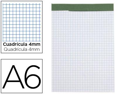 Bloc notas liderpapel cuadro 4 mm a6 80 hojas 60 g/m2 perforado sin tapa.