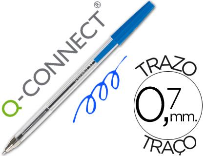 Boligrafo transparente q-connect azul