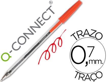 Boligrafo transparente q-connect rojo
