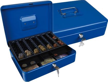 "Caja caudales q-connect 12"" 300x240x90 mm azul con portamonedas."