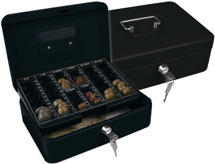 "Caja caudales q-connect 10"" 250x180x90 mm negra con portamonedas."
