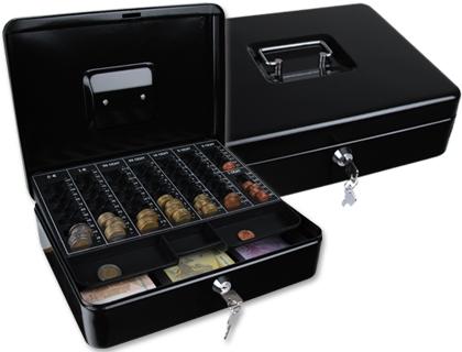 "Caja caudales q-connect 12"" 300x240x90 mm negra con portamonedas."