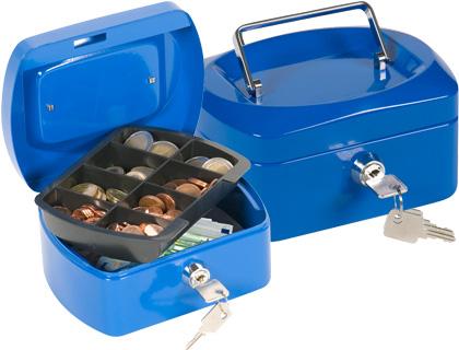 "Caja caudales q-connect 6"" 152x115x80 mm azul con portamonedas."