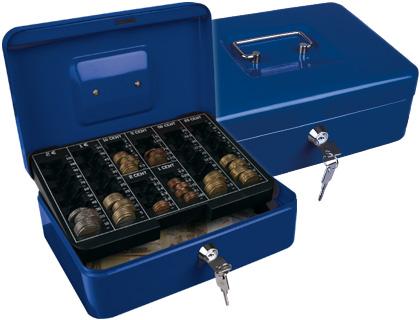 "Caja caudales q-connect 10"" 250x180x90 mm azul con portamonedas."