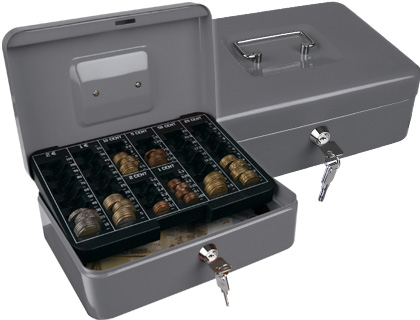 "Caja caudales q-connect 10"" 250x180x90 mm plata con portamonedas."