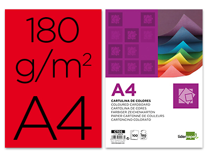 Cartulina A-4 roja (Paquete 100 unds)