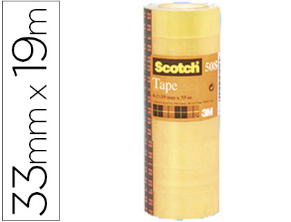 Cinta adhesiva scotch acordeon pack 8 508 19x33 mm.