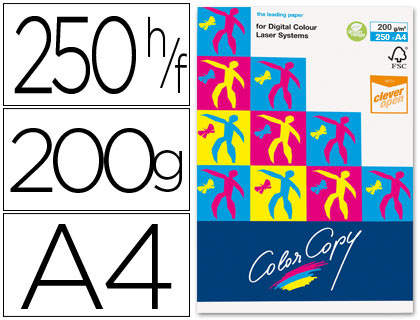 Papel para láser A-4 satinado 200 grs. Color Copy 250 hojas