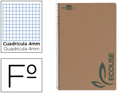 Cuaderno espiral liderpapel folio ecouse tapa cartulina kraft 80h papel reciclado