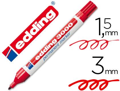 edding marcador permanente 3000 rojo