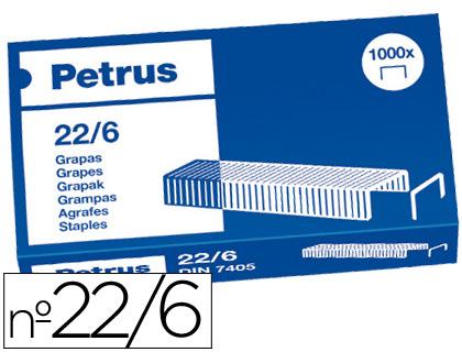 Grapas 22/6 - 24/6 Petrus COBREADAS (Caja de 1000 unds). Fabricadas con alambre de alta calidad.