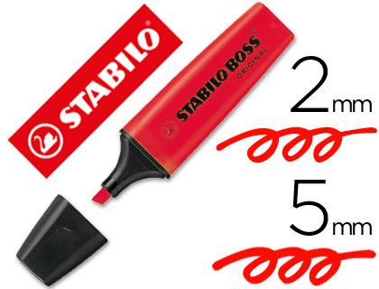 Rotulador stabilo boss fluorescente 70 rojo
