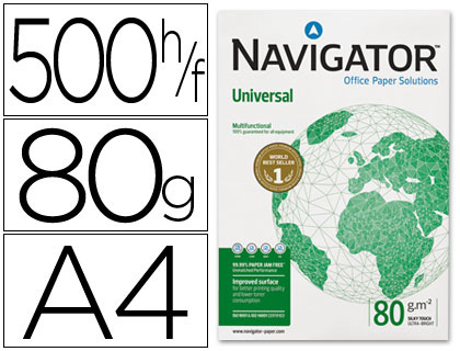 Papel A-4 80 grs Navigator paqt de 500 hojas- Loan papelería