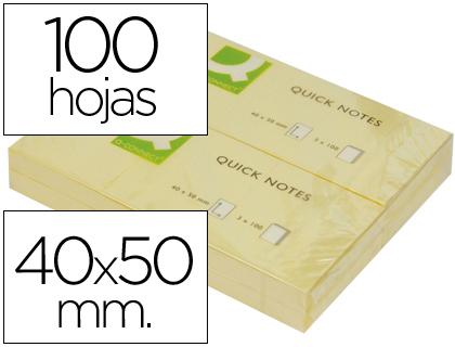 Bloc de notas adhesivas quita y pon q-connect 40x50 mm con 100 hojas.
