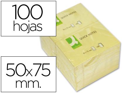 Bloc de notas adhesivas quita y pon q-connect 50x75 mm con 100 hojas.