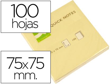 Bloc de notas adhesivas quita y pon q-connect 75x75 mm con 100 hojas.