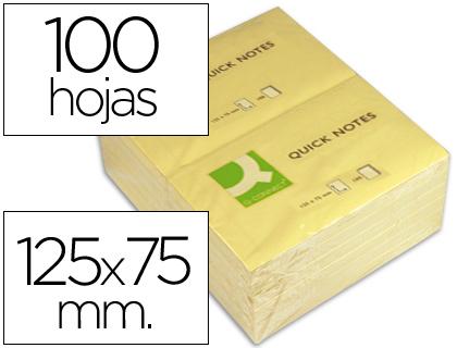 Bloc de notas adhesivas quita y pon q-connect 75x125 mm con 100 hojas.