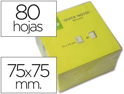 Bloc de 80 notas adhesivas quita y pon q-connect 75x75 mm amarillo neon 80 hojas.