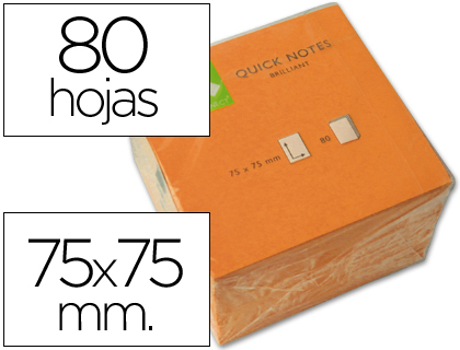Bloc de notas adhesivas quita y pon q-connect 75x75 mm naranja neon 80 hojas.