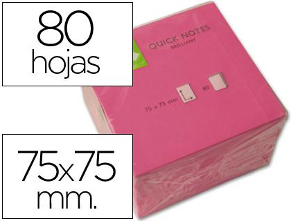 Bloc de notas adhesivas quita y pon q-connect 75x75 mm rosa neon 80 hojas.