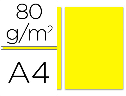 Papel amarillo A-4 80 grs. 100 hojas