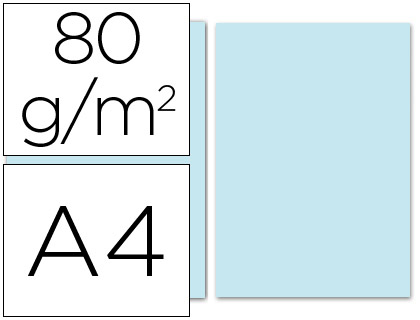 Papel azul celeste A-4 80 grs. 100 hojas-loan papeleria