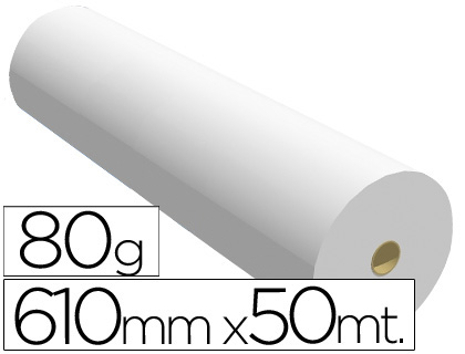 Papel para plotter 610 mm x 50 m 80 grs.