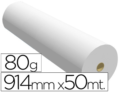 Papel para plotter 914 mm x 50 m 80 grs.