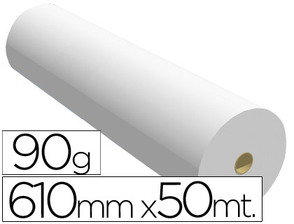 Papel para plotter 90 grs. 610 mm x 50 m