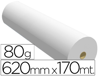 Papel para plotter 620 mm x 170 m 80 grs.