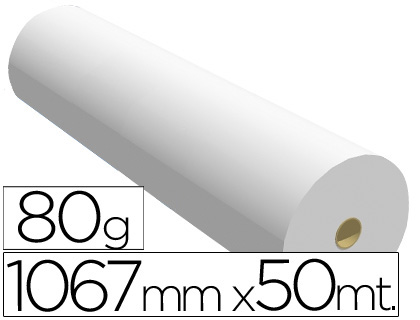Papel para plotter 1067 mm x 50 m 80 grs.