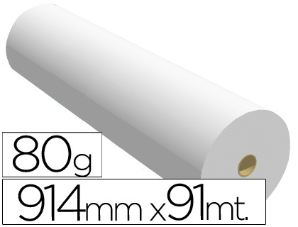 Papel para plotter 914 mm x 91 m 80 grs.