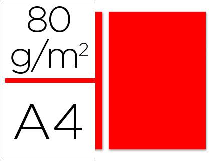 Papel rojo A-4 80 grs. 100 hojas