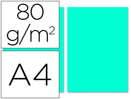 Papel azul turquesa A-4 80 grs. 100 hojas- LOAN PAPELERIA