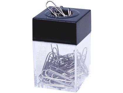 Portaclips cuadrado imantado. Depósito transparente. Contiene clips.