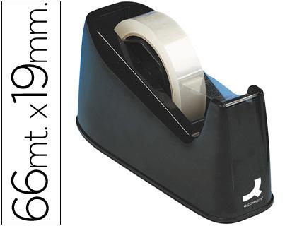 Portarrollo sobremesa q-connect plastico para cintasde 33 y 66 mt negro.