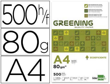 Papel A-4 80 grs. Paquete de 500 hojas Greening- Loan papelería