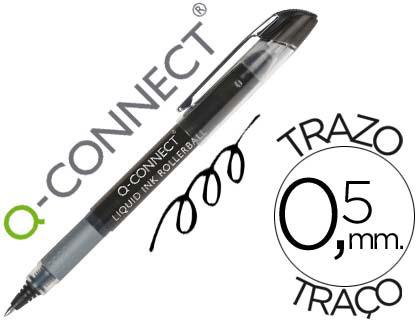 Bolígrafo negro tinta líquida Q-Connect