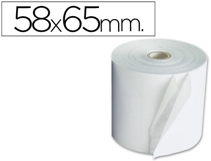 Rollo de papel tpv NORMAL 58 x 65 (envase de 10 unds)