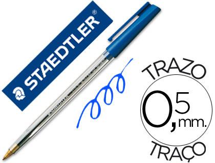Boligrafo staedtler stick azul con capuchon